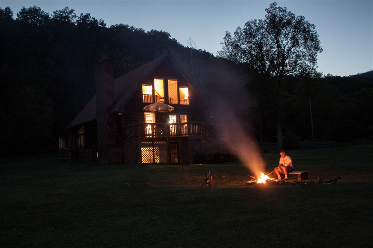 View of the cabin at night