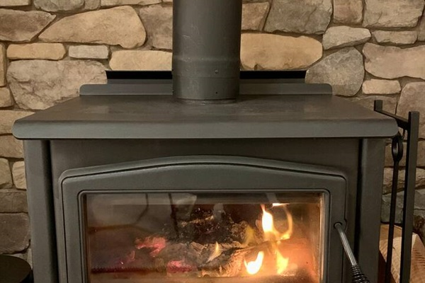 Cozy wood stove in great room
