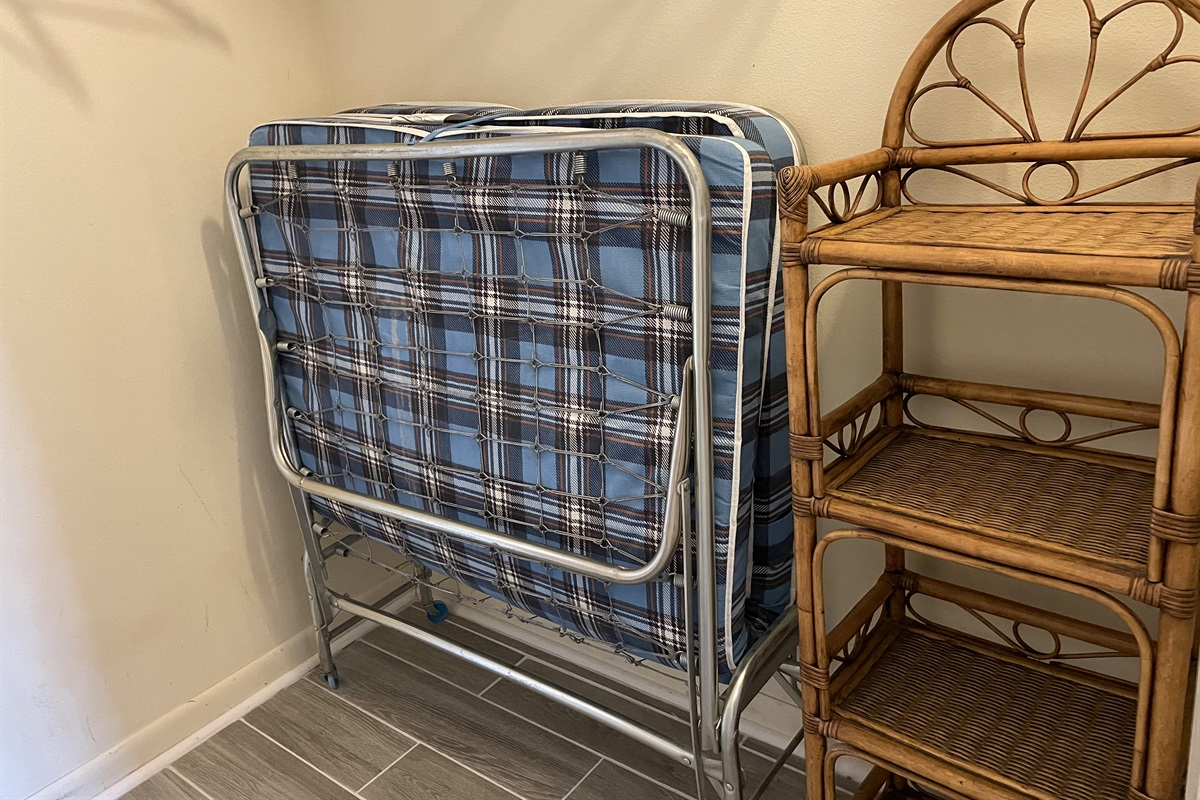 Fold out single bed.