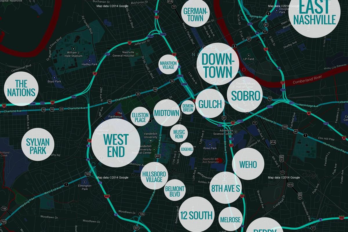 Map of popular Nashville Areas