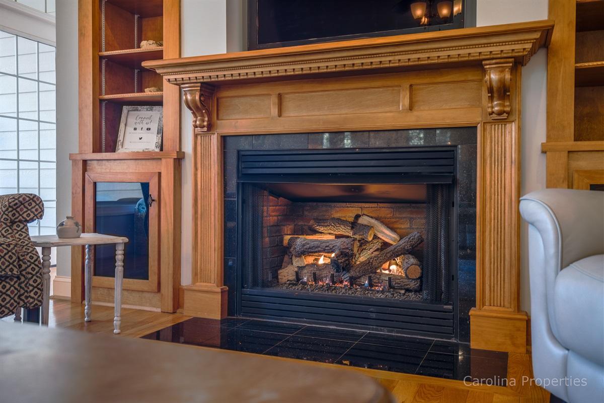 Beautiful fireplace with gas log