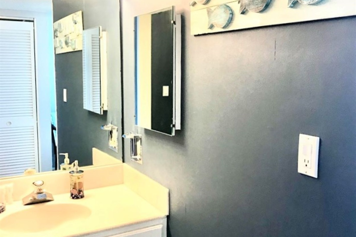 Sink area in master--freshly painted walls and new art