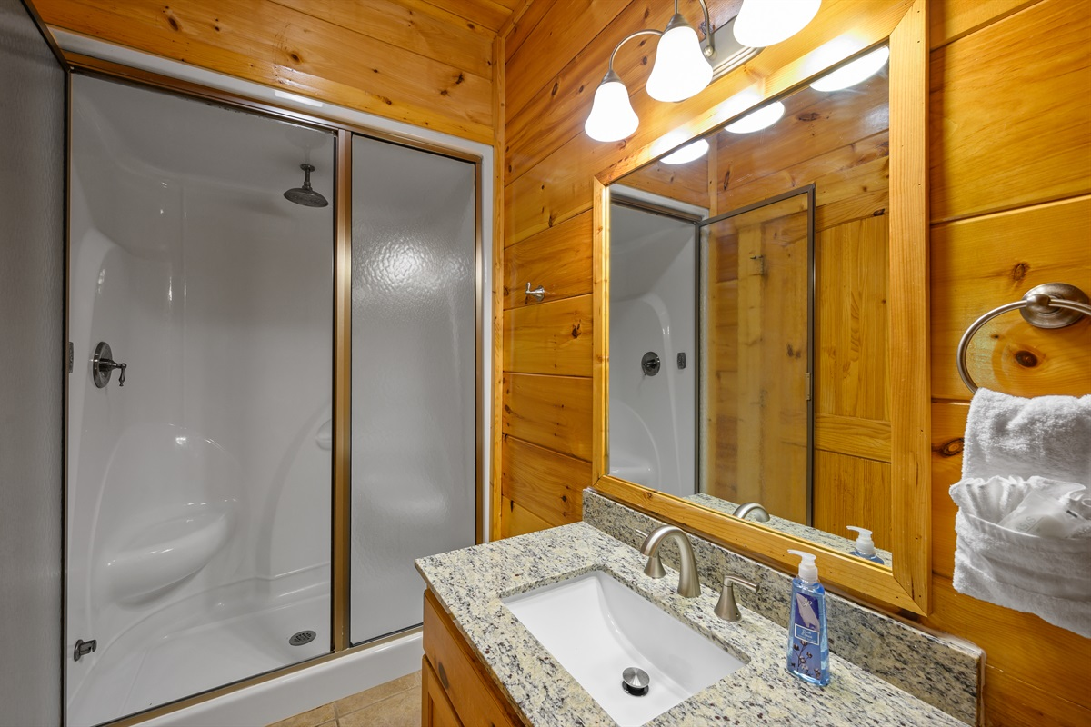 Master bath with a spacious walk-in shower.