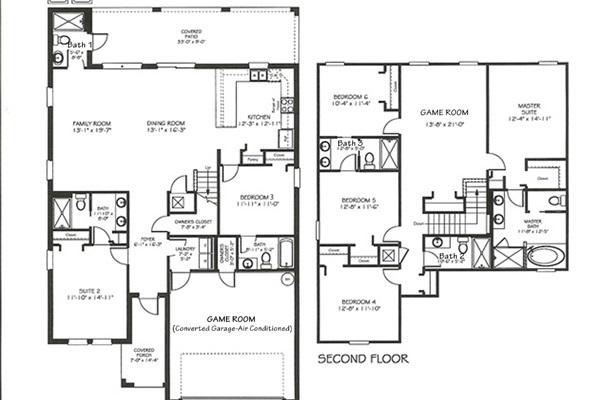Floor Plan-Following BRs/Baths Labeled Per Plan