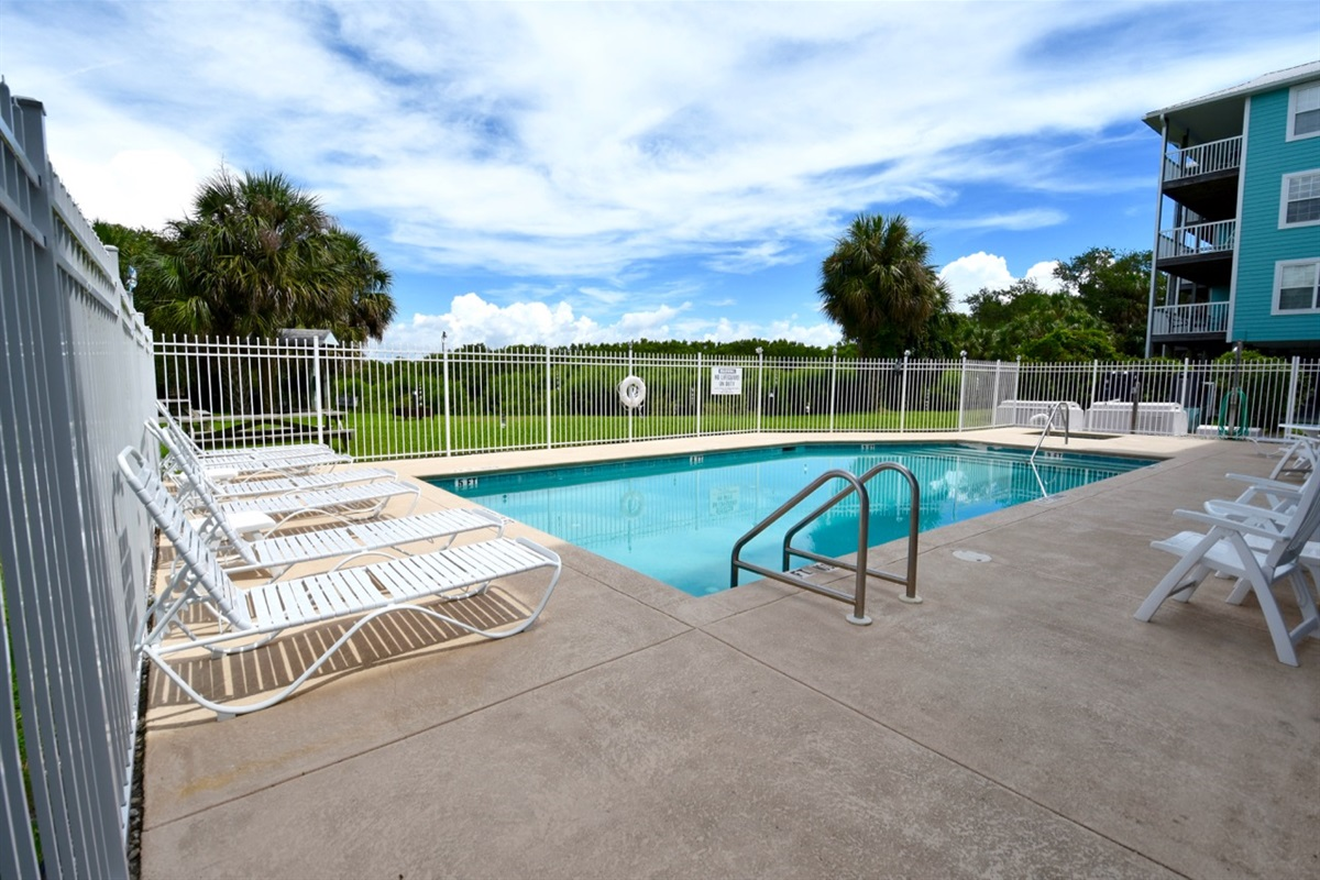 Relax pool-side all year in the heated pool