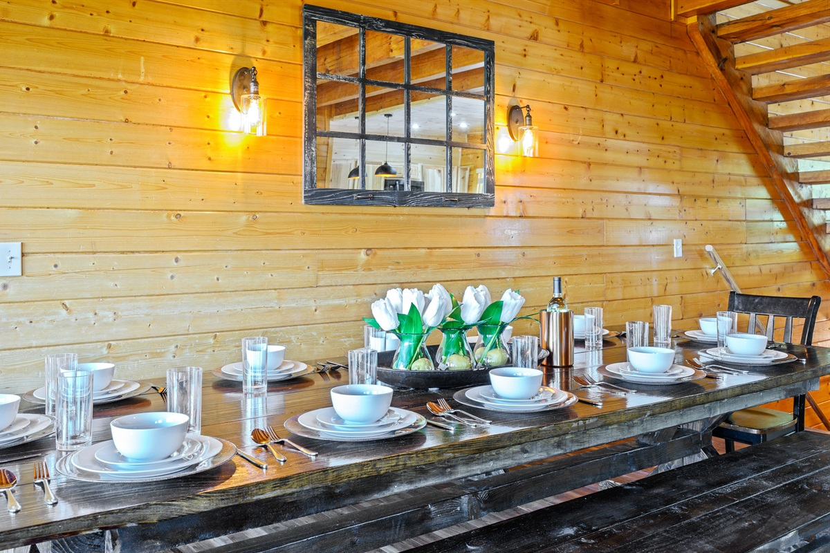 Large Farmhouse Style Dining Table with seating for 12