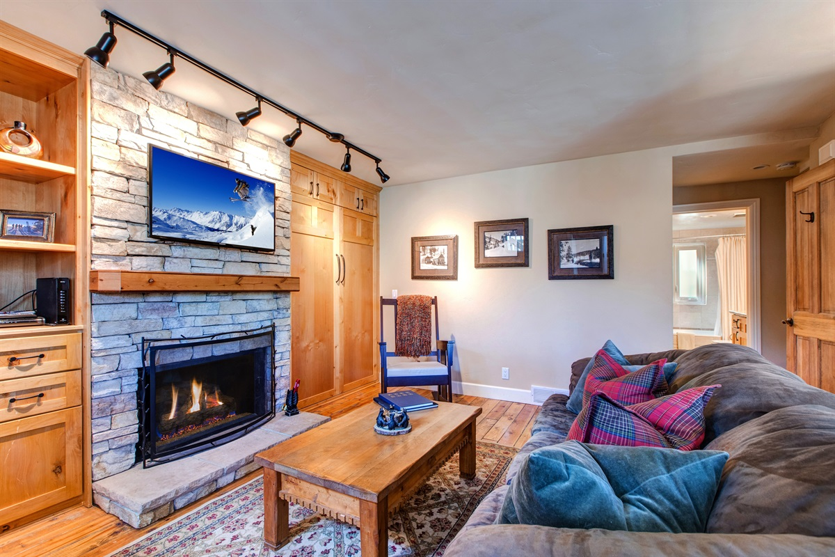 Living area - Murphy bed, Gas Fireplace