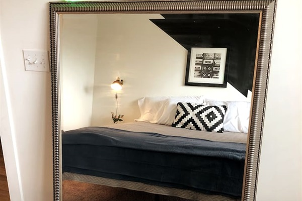 Large standing mirror in the bedroom - Perfect for girl's getting ready or groups that just need a little more mirror space!