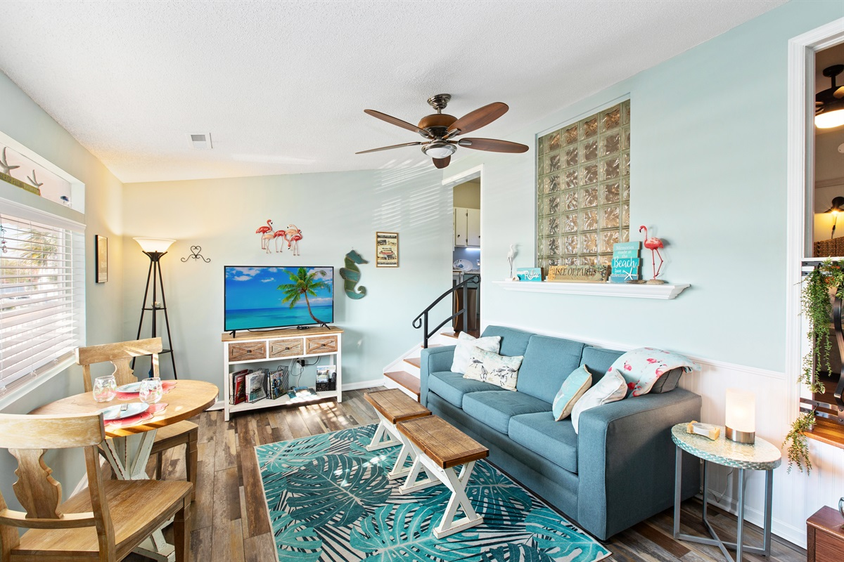 Welcome to Beach Vibes! Come on in!  (View from the door)  SMART Tv in living room.