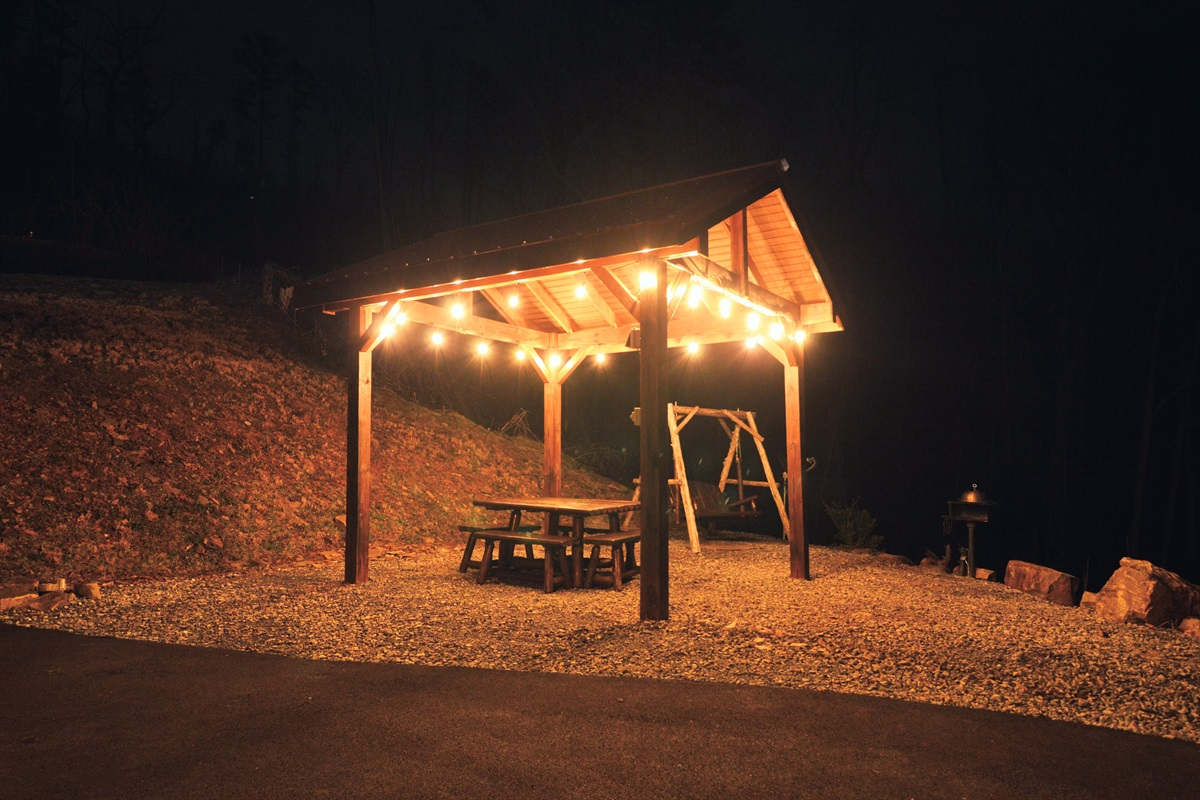 Cozy up with your honey under the covered pavilion