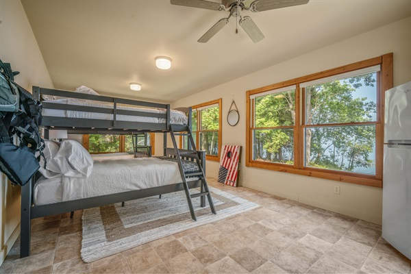 The bunk room (Kids Cottage) sleeps up to six.