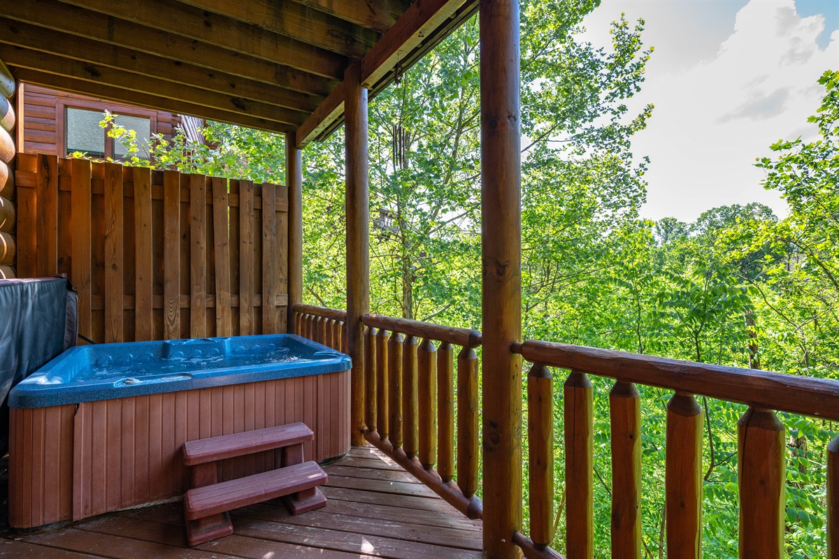 Take a dip in the hot tub on the lower deck!