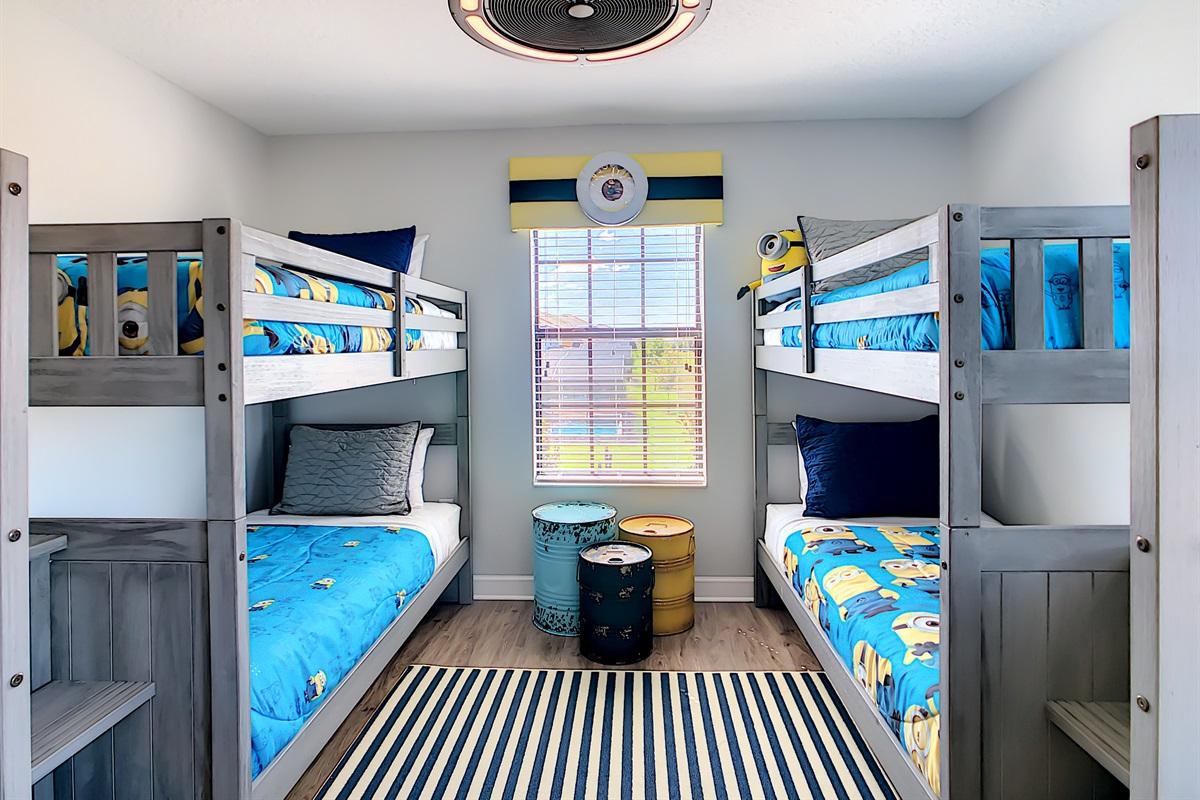 """Bedroom 4 - """"Minions"""" - 2 Bunk Beds - 2nd Floor"""