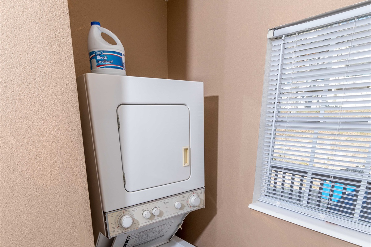 An in-house washer and dryer offers convenience!