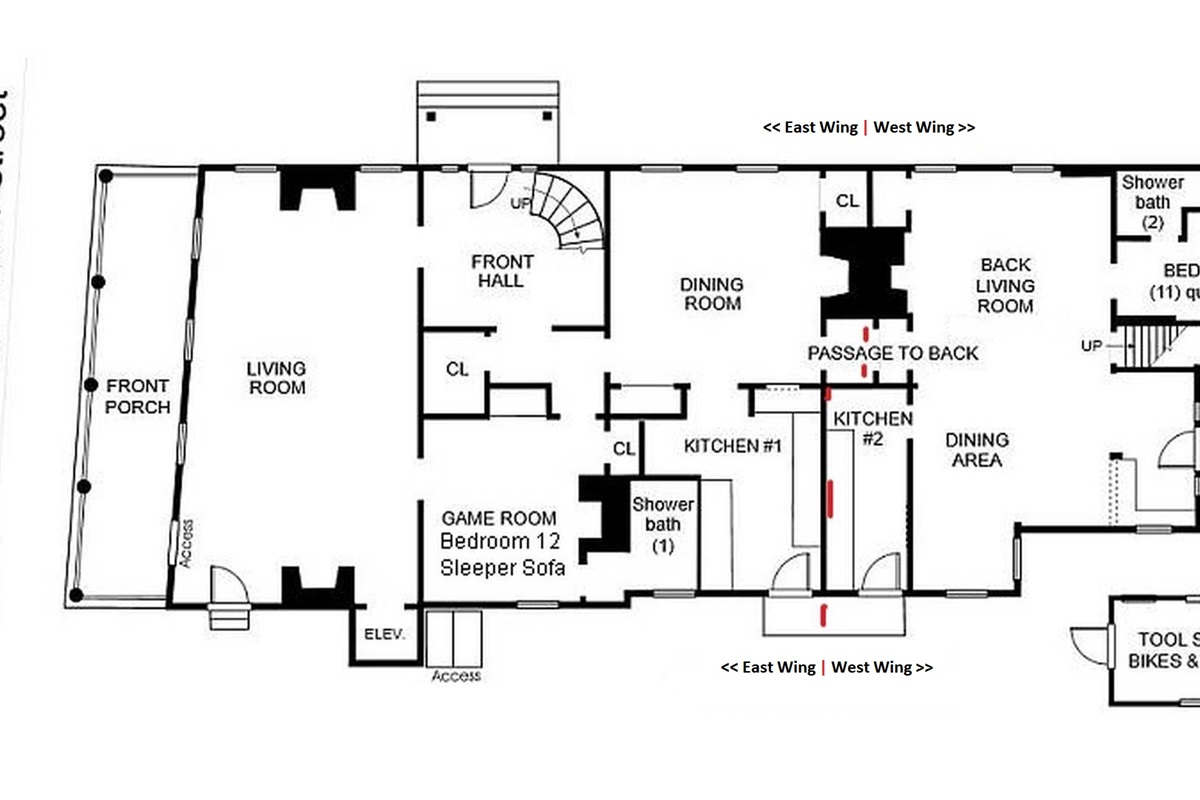 1st Floor Plan showing East & West Wings