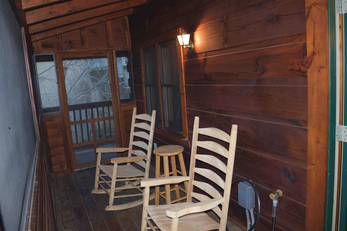 After soaking in the hot tub, relax in a rocking chair.