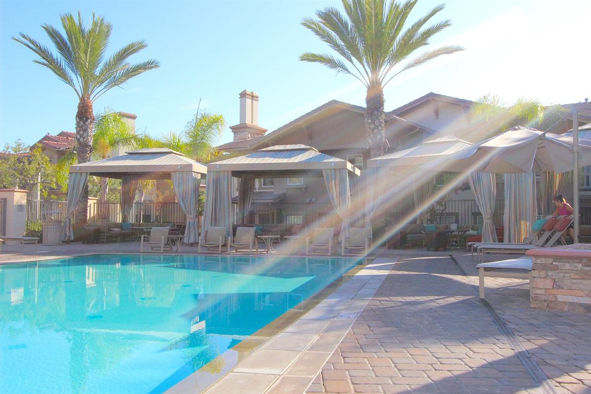 Pool cabanas, feels like a resort.