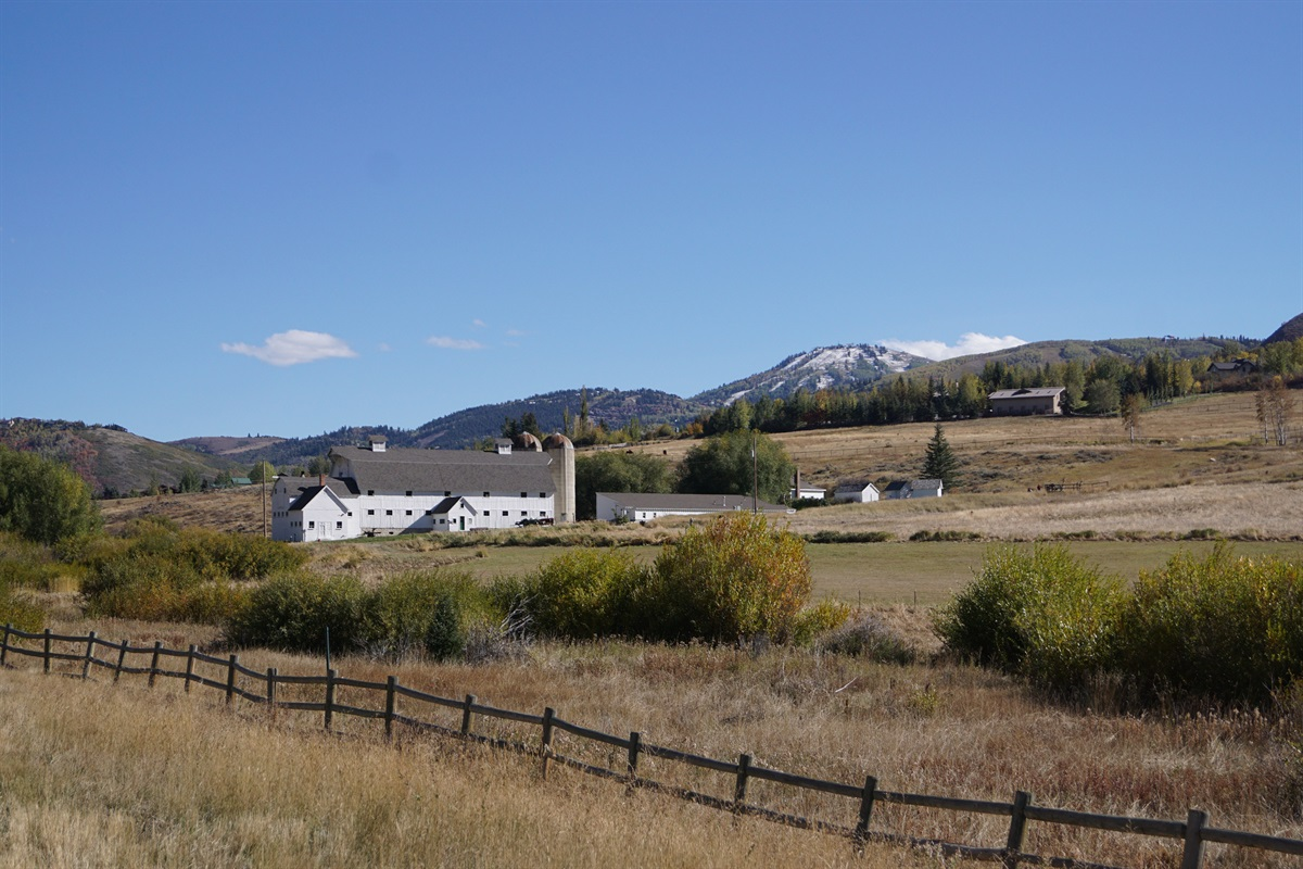 Park City's famous White Barn is there to greet you in all seasons.
