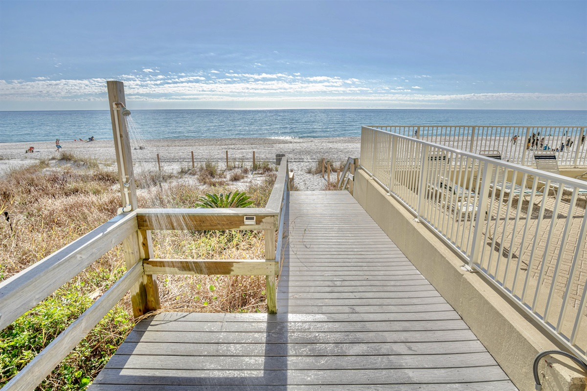 boardwalk from pool area to beach