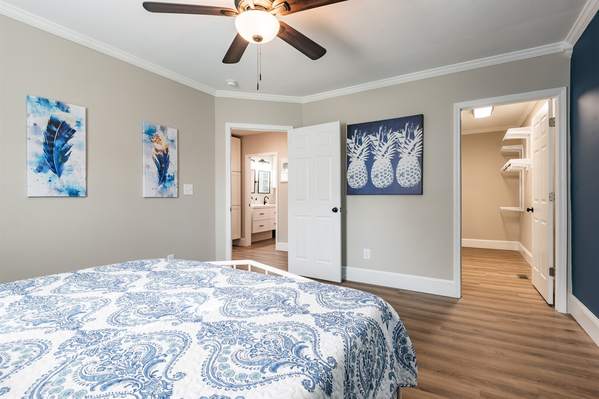 Master Bedroom with King Bed, walk-in closet, blackout curtains &on-suite bathroom