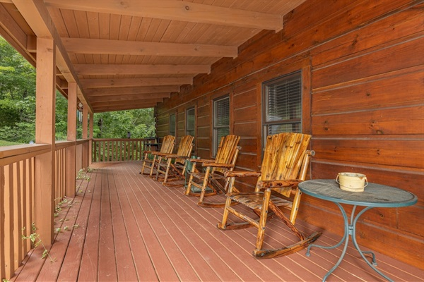 Relax on front porch rocking chairs