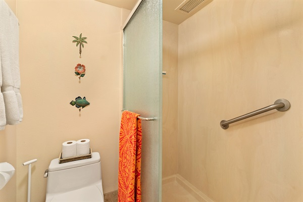 Lavatory separate to vanity/sink area to reduce contention :-). Shower on right.