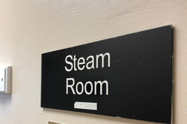 Steam room located on the 3rd floor