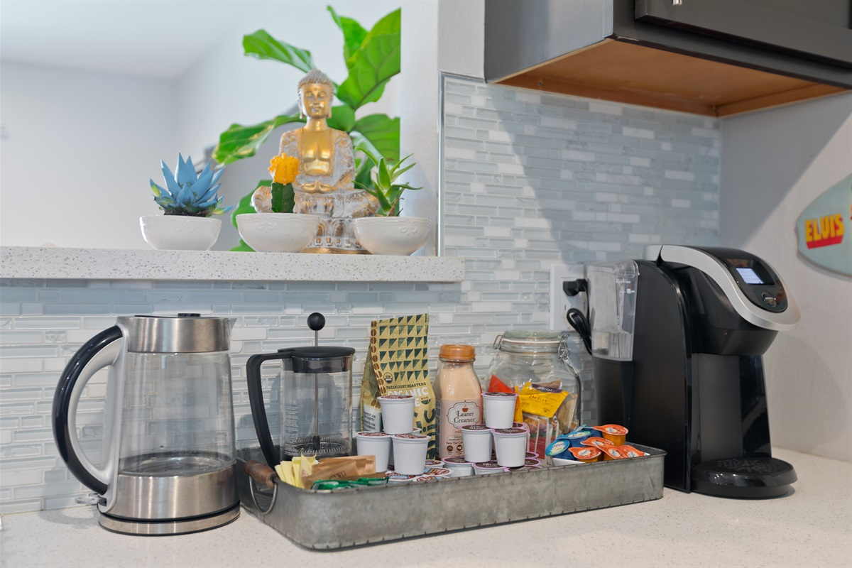 Premium coffee and tea bar fully stocked with all of your favorites.