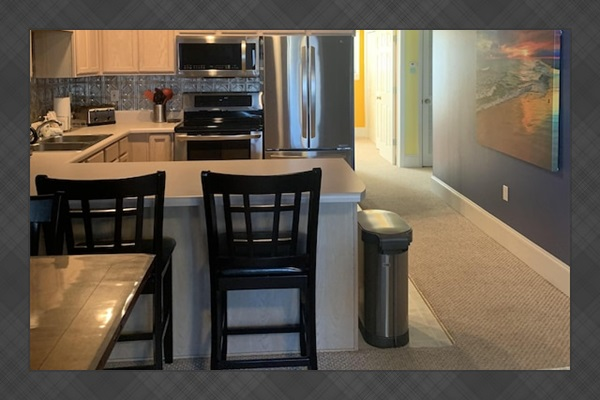 View of updated kitchen with stainless steel appliances