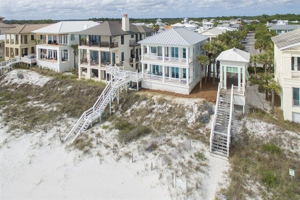 Generations Beach House Drone shot from the Gulf-Carillon Community behind house