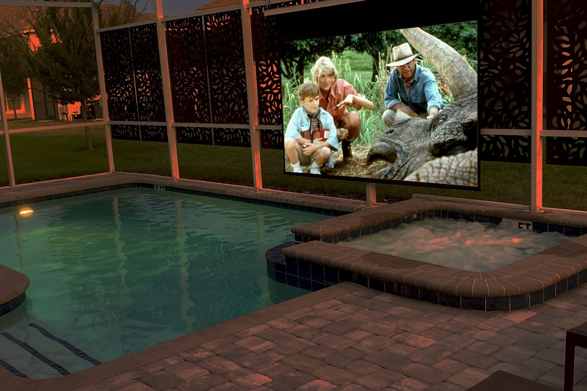 """Poolside Movie Theater (125"""" Screen-4K Projector-Surround Sound)"""