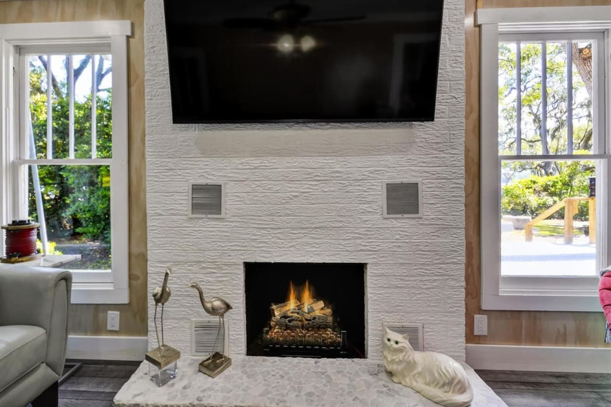 Electric Fireplace and Large TV