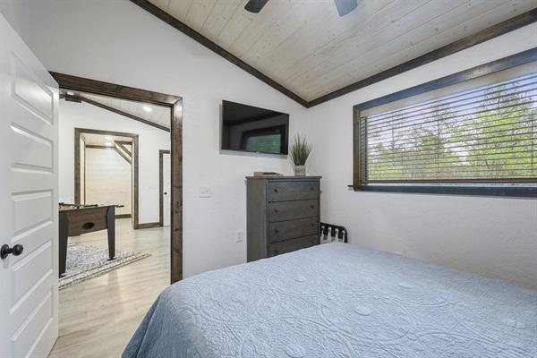 2nd Bedroom - Queen bed, east facing, off game room