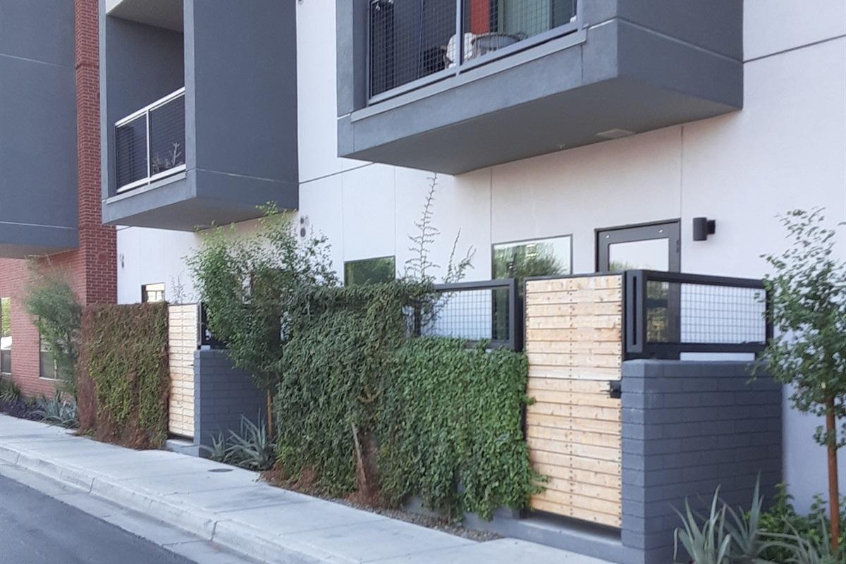 Walkout patio.  Park in front of your door.