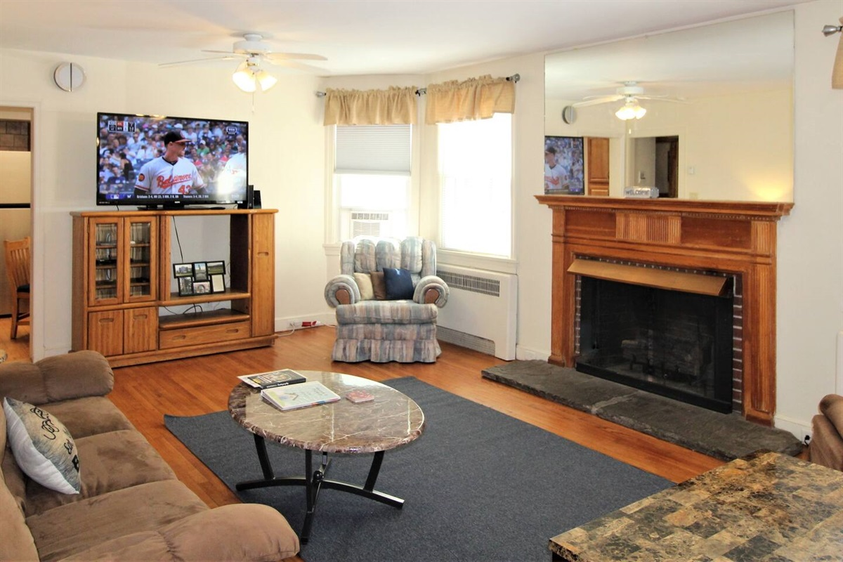 Cooperstown Baseball Rentals Triple Play #1 has the perfect living space for relaxing after a long day at the ballpark, with plenty of room to spread out and enjoy your favorite shows on the large flat screen smart Roku TV