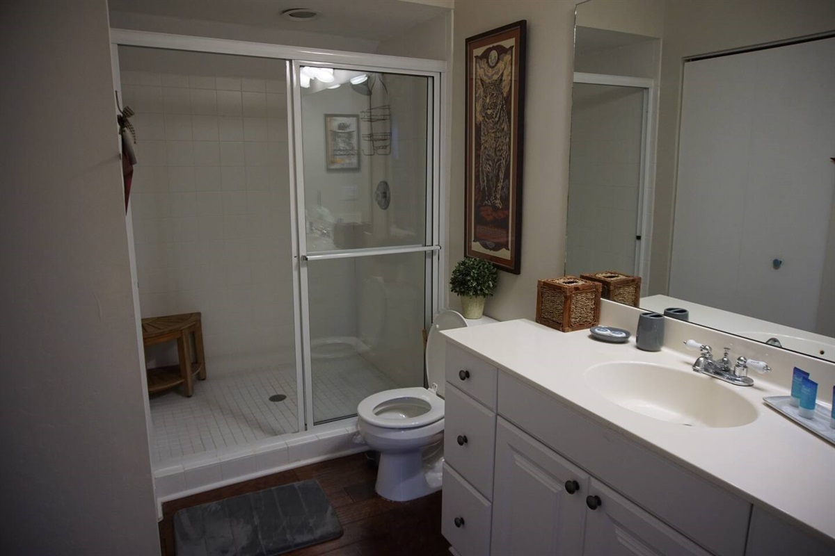 The guest bathroom has plenty of room for everyone to get ready for a night out on the town