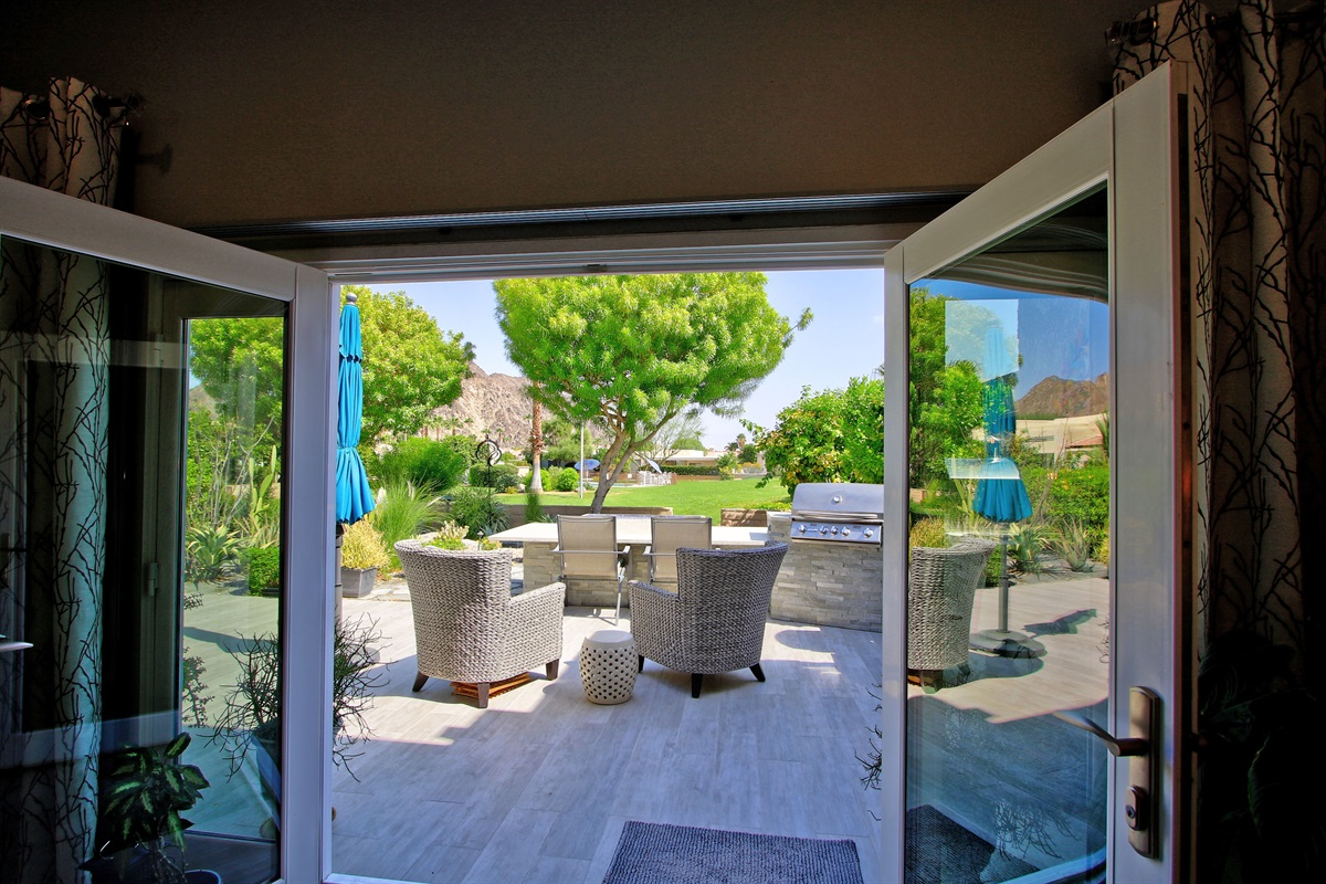 walk out French Doors to Patio