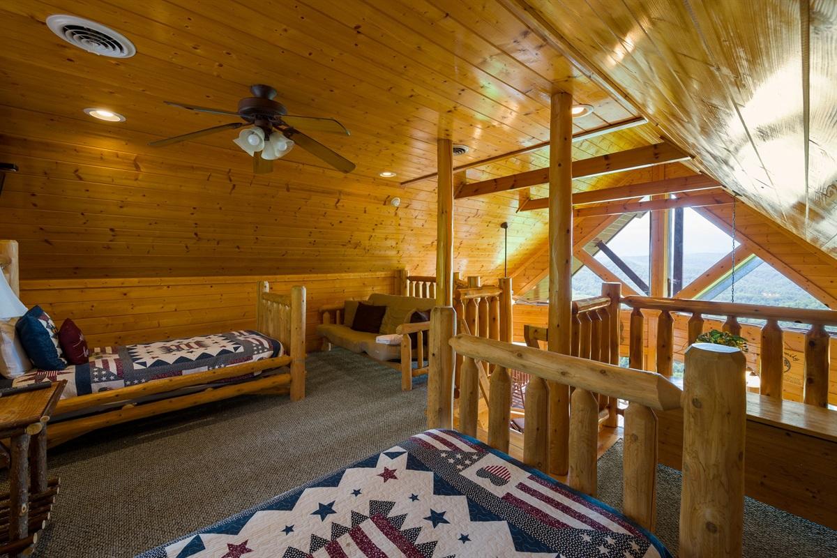 Thre is a futon in the loft