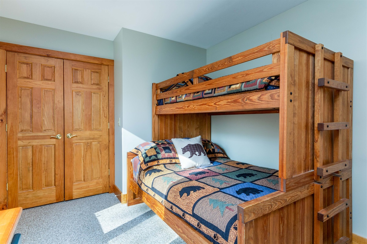 Bedroom 2.  Queen with twin bunk over and separate twin bed.