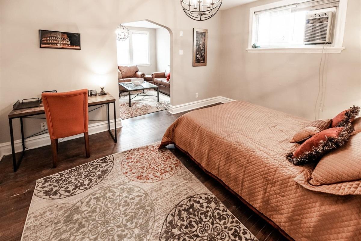 Queen bedroom and desk