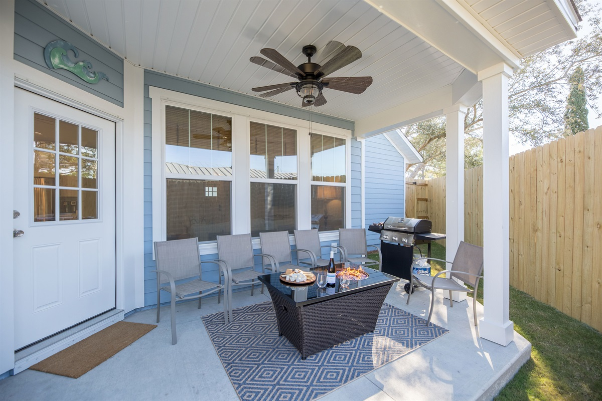 Outdoor Amenities: fire pit table and grill