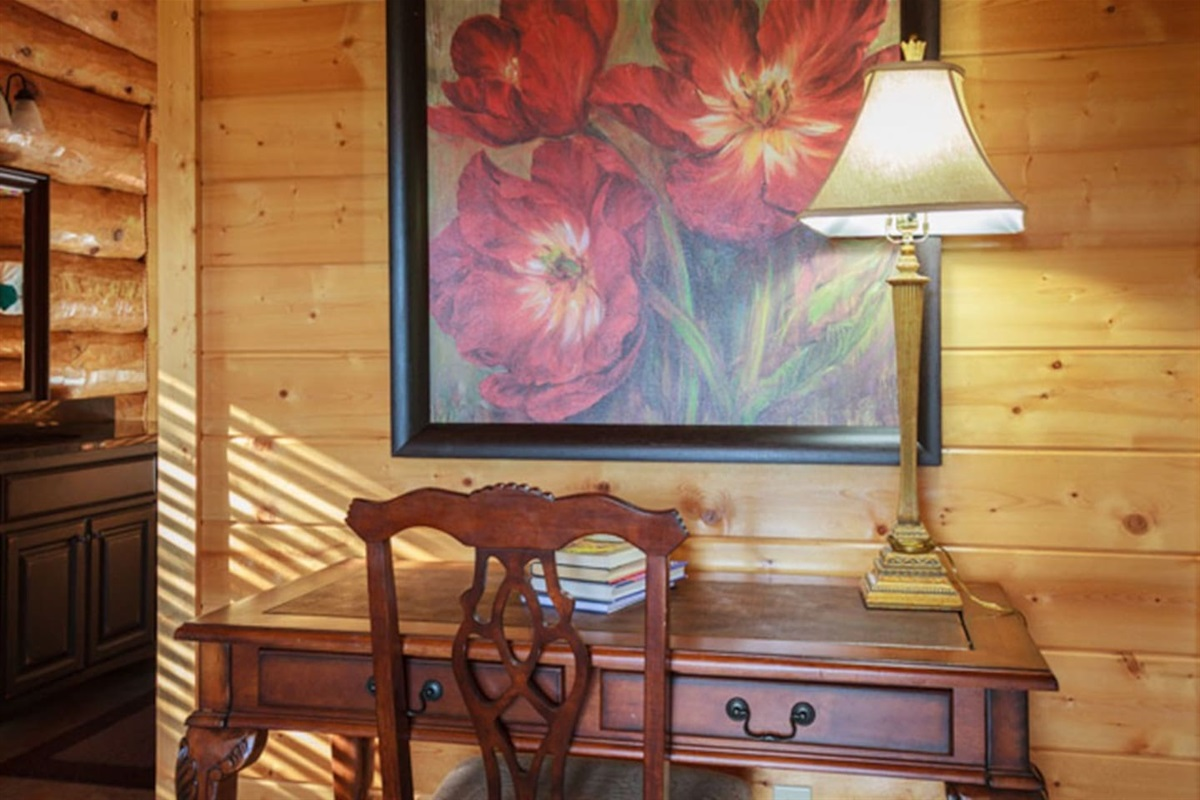Several charming work spaces if you need to write a letter or use your laptop