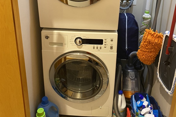 Full size washer drier in upstairs closet