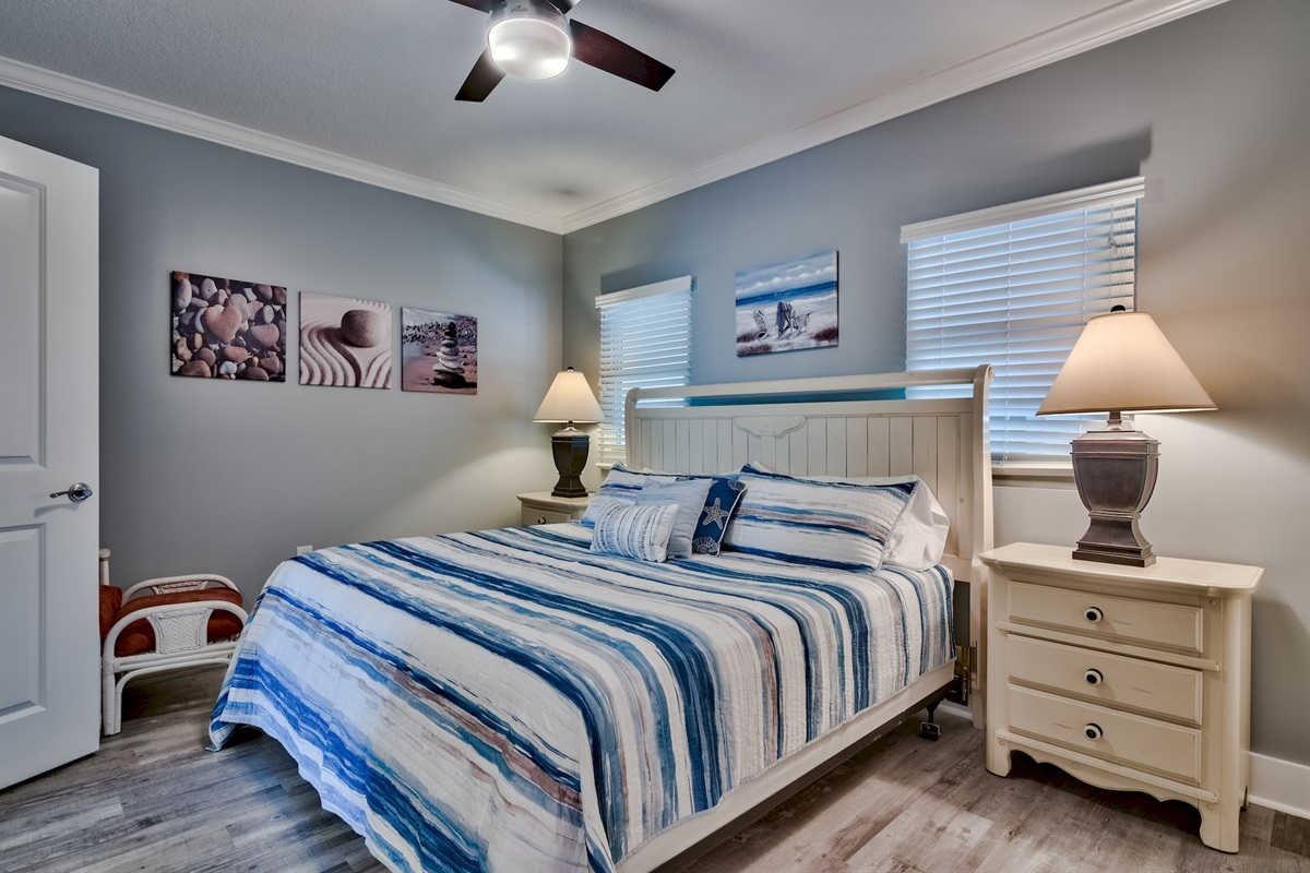 King Size bed in the newly painted bedroom