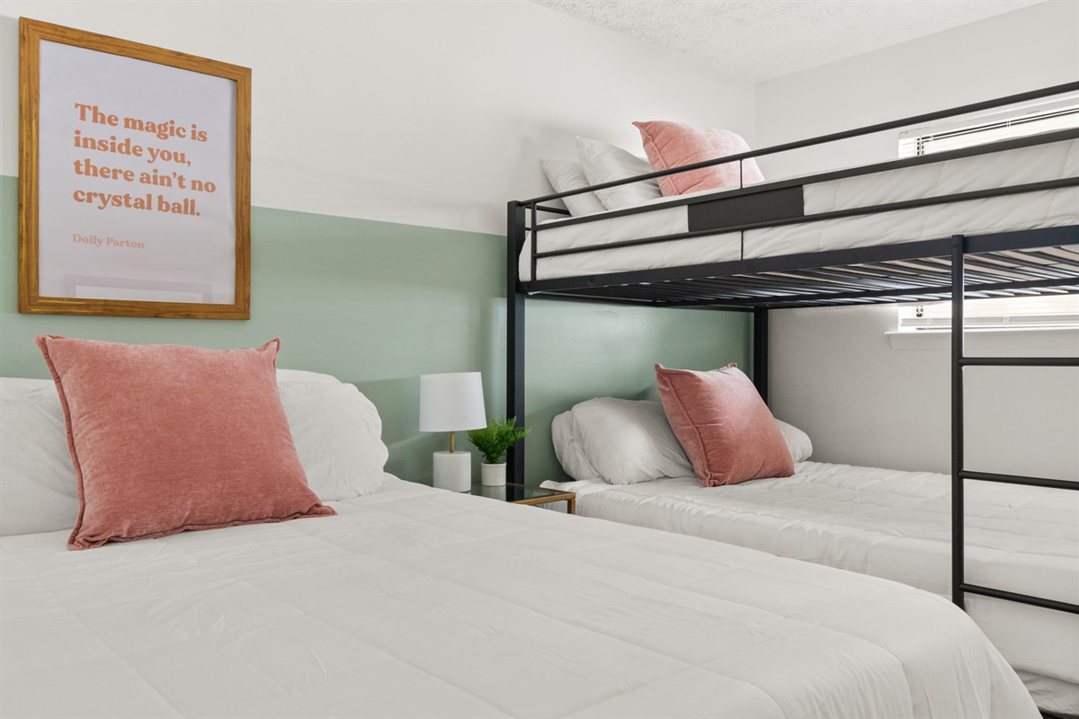 """3 memory foam """"queen"""" sized beds for a comfortable stay!"""