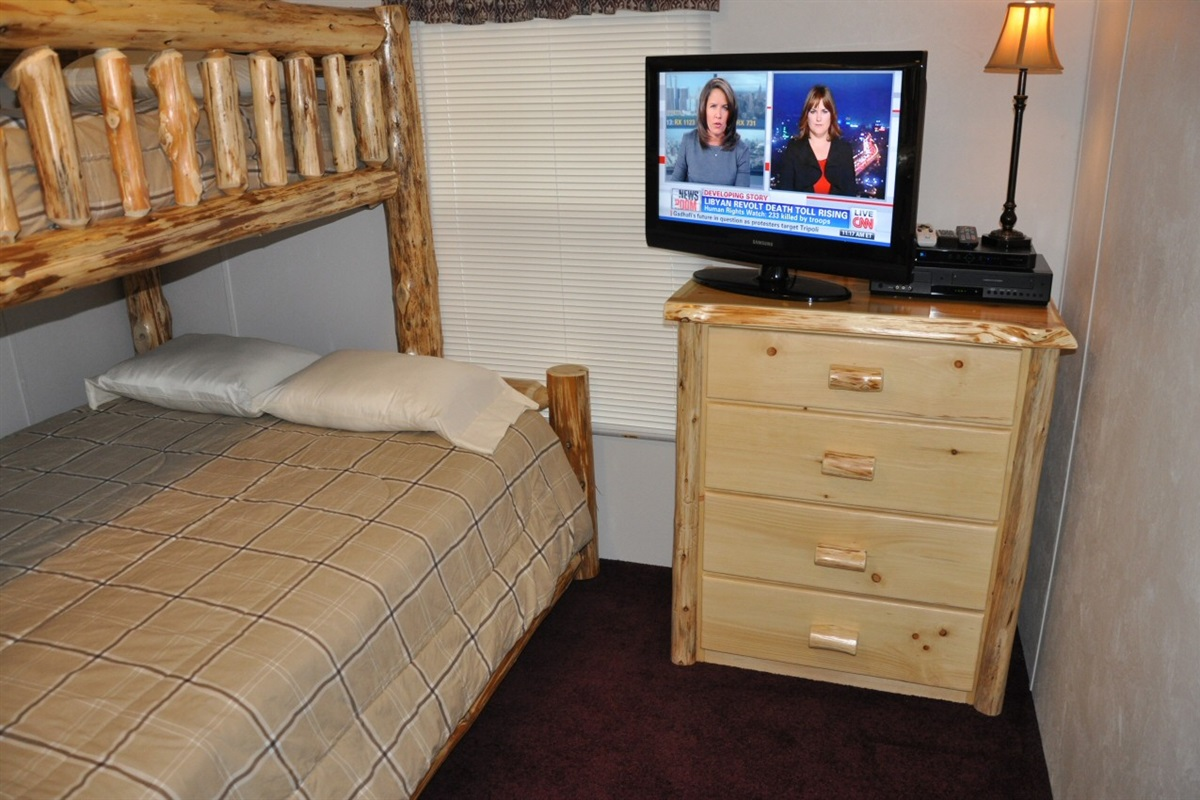 3rd bedroom with queen and twin bunks (Please note, the TV has been removed from this room)