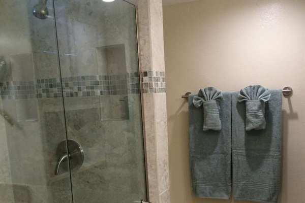 New tiled walk-in shower