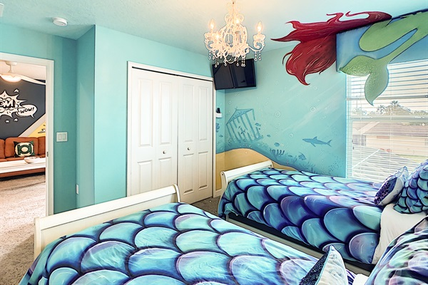 Bedroom 6-2nd Floor-The Little Mermaid Theme-2 Twin Beds