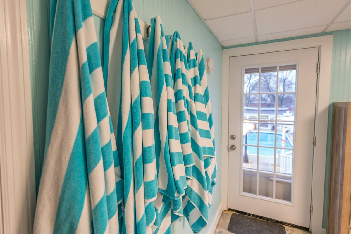 The pool awaits, we provide a pool towel in addition to bath towels for every guest. We also provide sunscreen and pool toys!