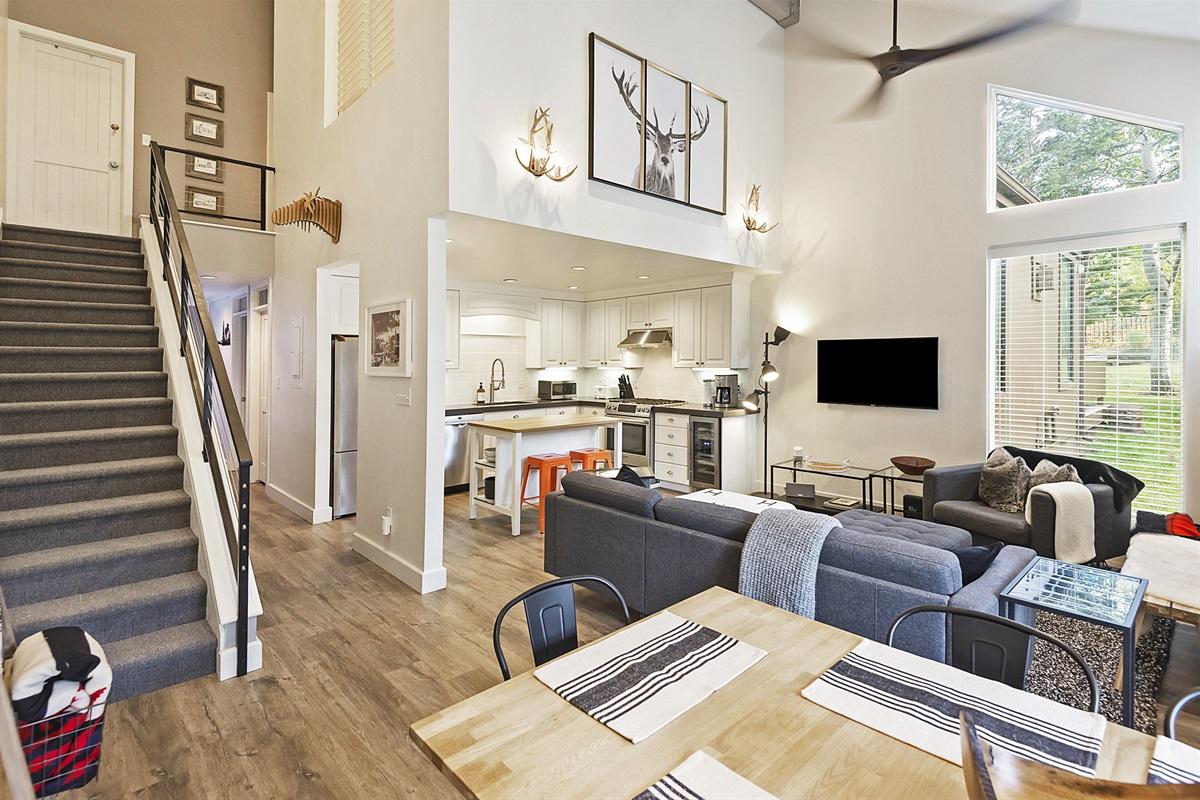 Living area - kitchen, gas fireplace, flatscreen smart TV